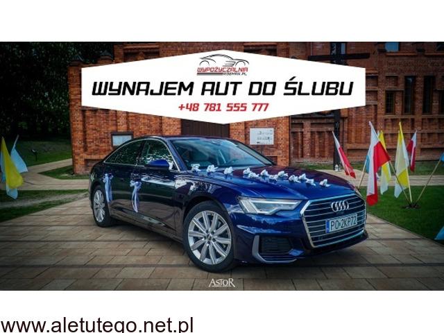 Wynajem auta do ślubu na wesele Audi A6 C8 2019, Jaguar XJ i inne